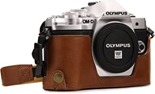 Megagear MG1352 Olympus OM-D E-M10 Mark III Ever Ready Leather Camera Half Case and Strap, with Battery Access, Light Brown