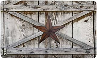 InterestPrint Western Texas Star on Rustic Old Barn Wood Doormat Indoor Outdoor Entrance Rug Floor Mats Shoe Scraper Door Mat Non-Slip Home Decor, Rubber Backing Large 30