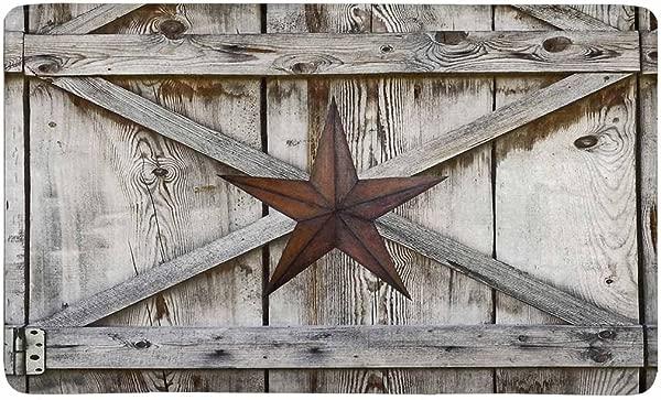 InterestPrint Western Texas Star On Rustic Old Barn Wood Doormat Indoor Outdoor Entrance Rug Floor Mats Shoe Scraper Door Mat Non Slip Home Decor Rubber Backing Large 30 L X 18 W