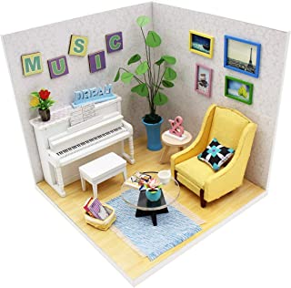 Pocohouze DIY Miniature Dollhouse Wooden Kit Creative Room with Furniture and Accessories Mini Doll House 3D Puzzle Starter Pack Easy Assembly Set for Adults