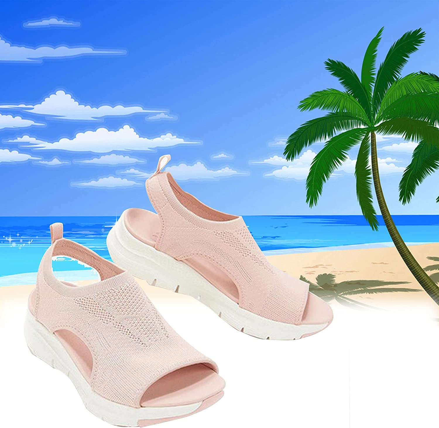 Treonca Summer Slingback Orthopedic Slide Sport Sandals, Comfy Sports Knit Sandals, Gradation Thick Bottom Fish Mouth Beach Casual Sandals (Pink,35)