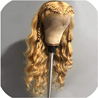 Dai Yao 13X6 Deep Wave Lace Front Wig 27# Honey Blonde Human Hair Colored Wigs Pre Plucked Part Blond Lace Front Wig For Black Women,13X4 Lace Front Wig,8inches