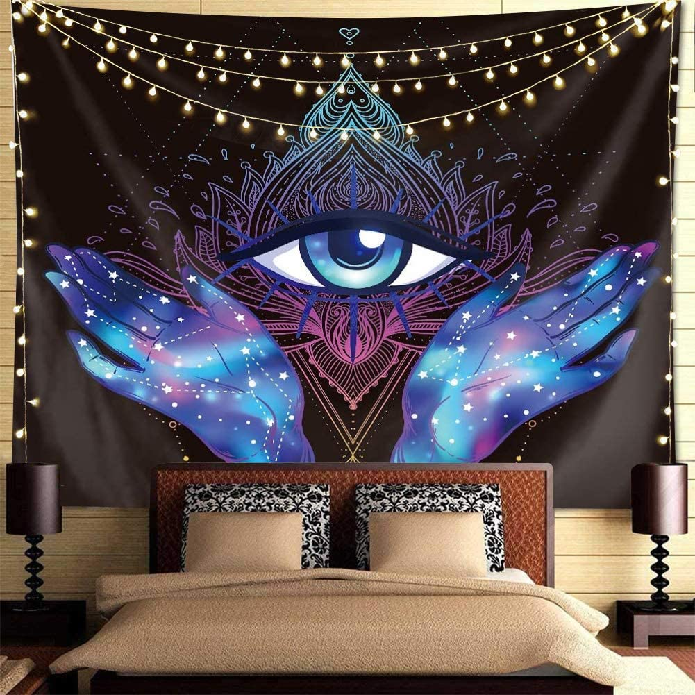 QCWN Psychedelic Tapestry Trippy Black Max 46% OFF Purple NEW before selling Hamsa