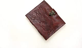 Mythrojan Tree of Wisdom Embossed Leather Journal with Lock Diary Handmade and Handmade Paper