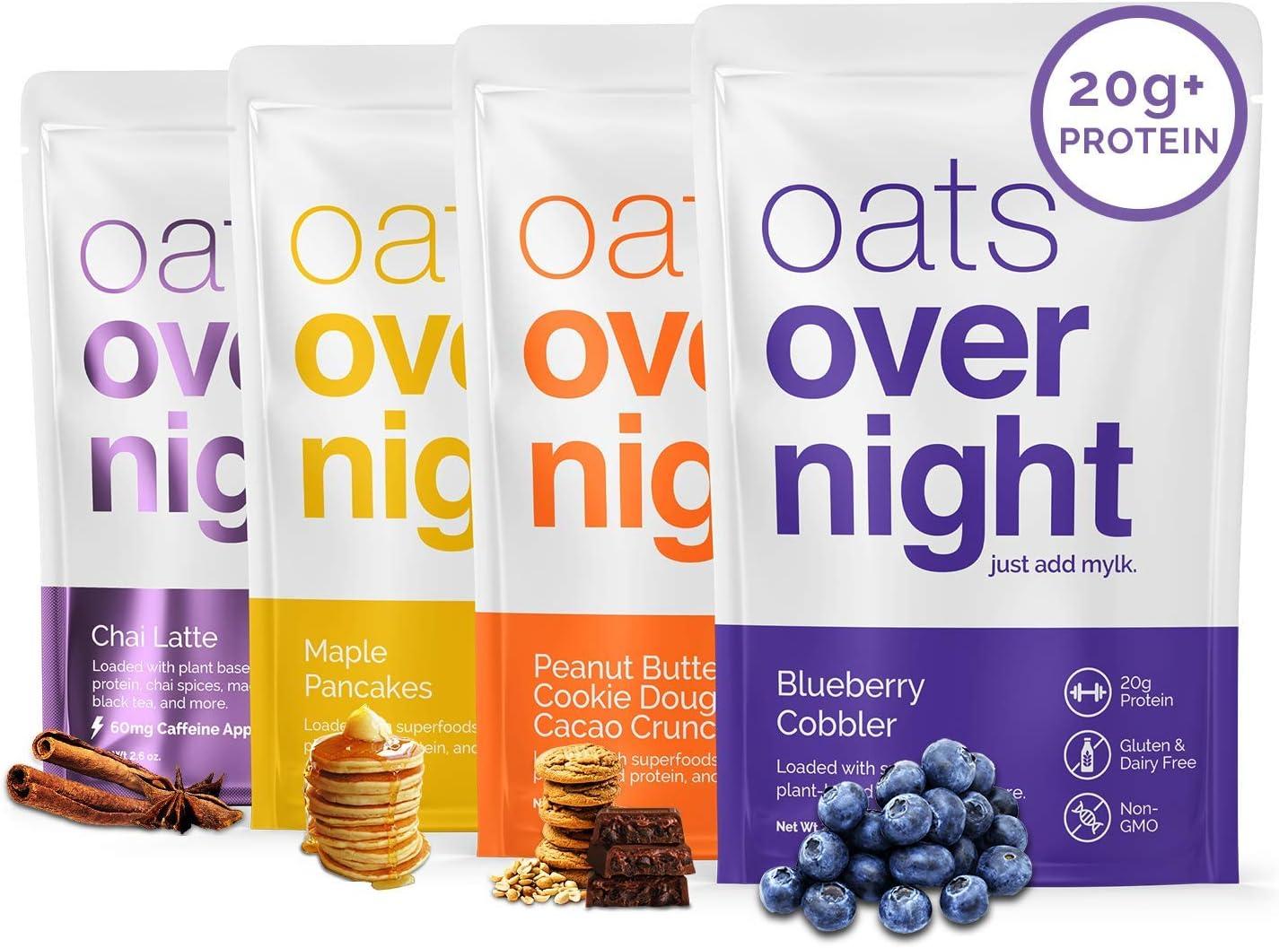 Oats Overnight Base vegetal: alta en proteínas, baja en azúcar, sin gluten (2.6 oz por paquete) (12 paquetes)