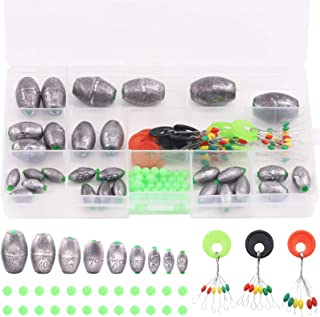 Swpeet 94Pcs Egg Olive Shape Sinkers Fishing Kit Sinkers Worm Sinker Fishing Weights Bass Casting Bullet Weight for Rig Fi...