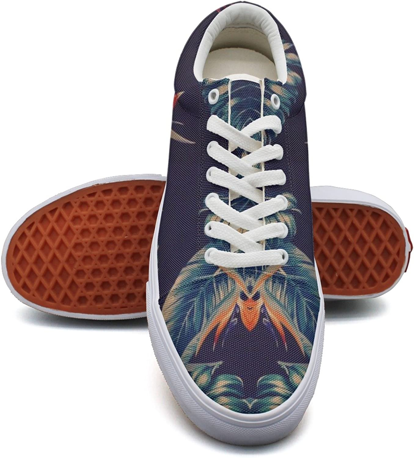Feenfling Birds of Paradise Pattern Womens Light Canvas Low Top Cool Volleyball Sneakers for Women's