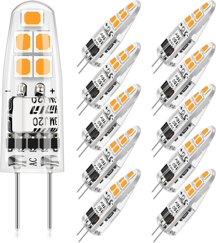 G4 LED Bombillas 2W,Blanco Cálido 3000K G4 Bombillas LED 200LM Reemplazo para Lámparas Halógenas 20W,12V AC/DC,Sin Parpadeo,No Regulable,Ángulo de Haz de 360 °,10 Piezas