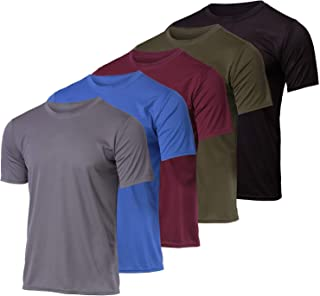 Real Essentials 5 Pack: Men's Mesh Performance Quick Dry Tech Stretch Ultra-Soft Breathable Short Sleeve Crew Active T-Shirt
