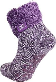 Warm Winter Thermal Lounge Socks - Lilac Mauve Cream/Mauve Twist UK 4-8 US 5-9