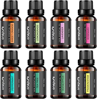 Onepure Aromatherapy Essential Oils Gift Set, 8 Bottles/ 10ml Each, 100% Pure (Lavender,..