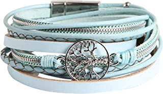 HZMAN Handmade Tree of Life Natural Pearl Leather Cuff Bracelet Magnetic Multi Strand Wrap Bracelet Bohemian Jewelry for W...