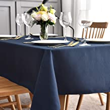 maxmill Jacquard Table Cloth Waving Pattern Water Proof Wrinkle Free Heavy Weight Soft Tablecloth Decorative Fabric Table Cover for Outdoor and Indoor Use Rectangular 60 x 104 Inch Navy Blue