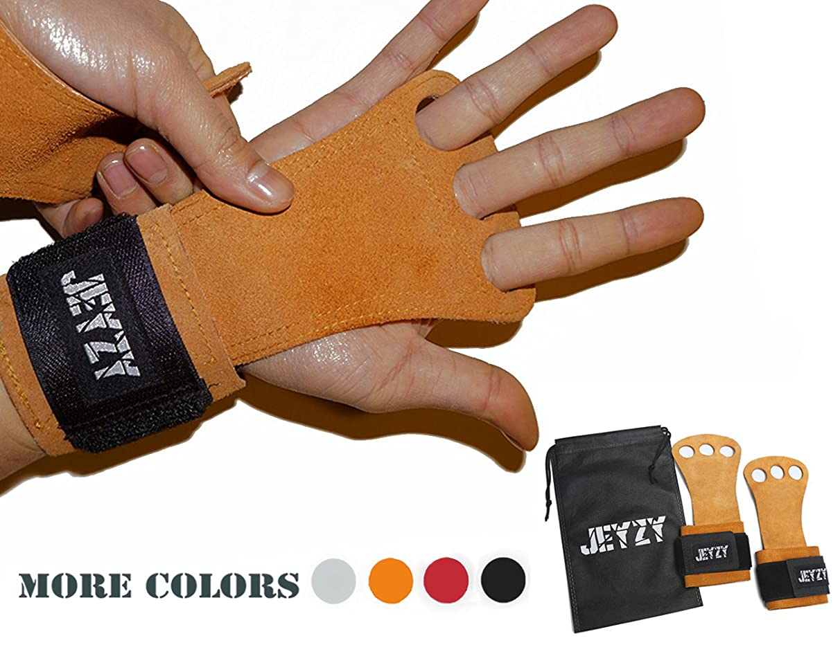 Jeyzy Leather Gymnastics Grips 3 Hole Hand Grips with Wrist Support Palm Protection for pullups,Crossfit Training,Weight Lifting,Barbells,Chin ups,Exercise,Kettlebells,& More.