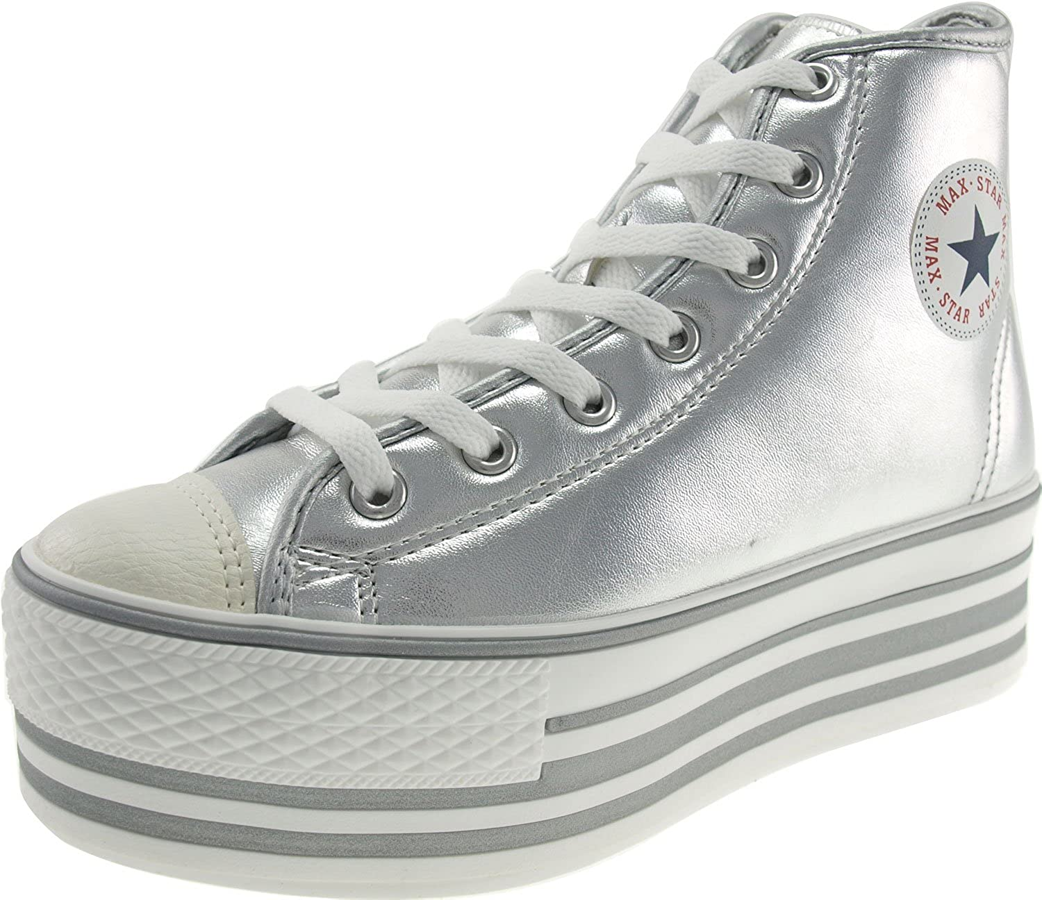 Maxstar Metalic colord High-top Platform Synthetic Leather Sneakers shoes