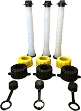 Kool Products (Retail Pack 3) Gas Can Spout Replacement With Gasket, Stopper, Cap With Stripe, 2 Collar Caps (Yellow and Black) That Fits On Most Of The Cans Out There