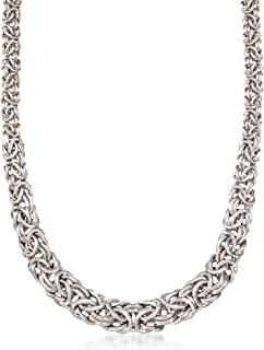 Sterling Silver Graduated Byzantine Necklace