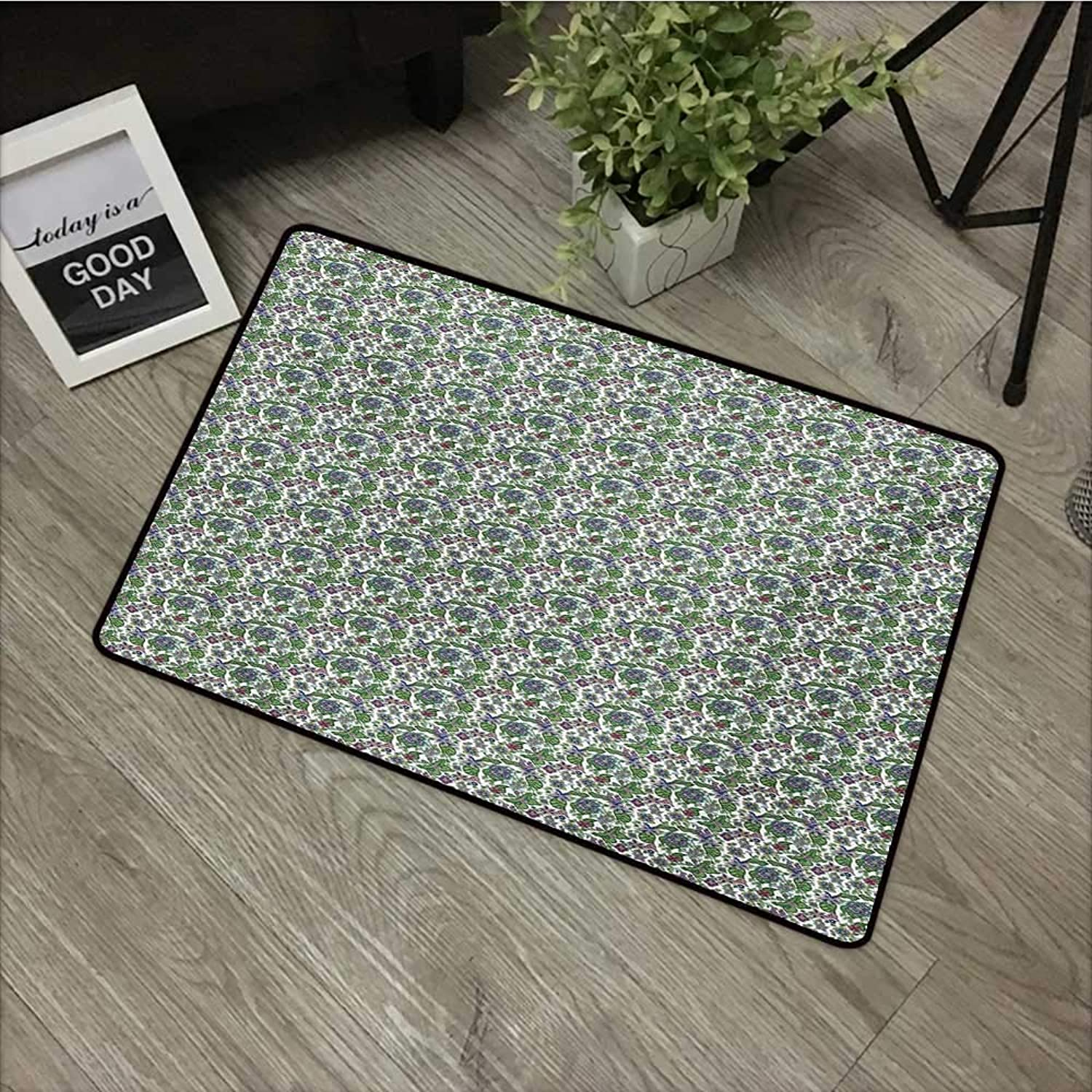 Interior Door mat W35 x L59 INCH Flower,Ornate Retro Style Artistic Blossoms in with Green Leaves Pattern,Multicolor Natural dye Printing to Predect Your Baby's Skin Non-Slip Door Mat