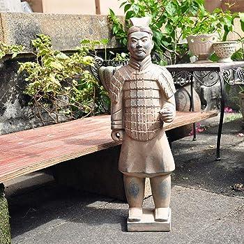 Estatua de Jardín Las estatuas de Terracota rústica Guerreros y Caballos Decoración Hogar Jardín Jardín Villa Jardín al Aire Libre de la estatuilla (Color : Marrón, tamaño : 20x56cm): Amazon.es: Hogar