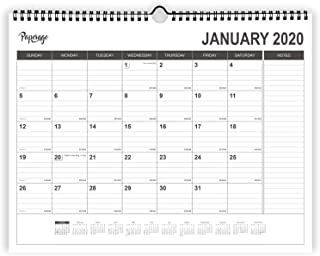 Paperage Wall Calendar 2020 with Julian Date - 12 Months, 8.5 x 11 Inches Thick Paper, Ruled Blocks and Notes, Tear Off, Wire-Bound Desk Calendar