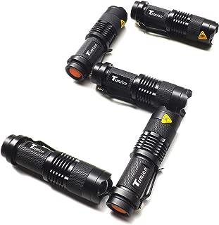Timlon 5 Pack Tactical Flashlight Rainning proof 7W 350lm Ultra Bright Mini Cree Q5 Led 3 Mode Flashlight Torch Adjustable Focus Zoomable Light Lamp Tactical Flashlight (Black)