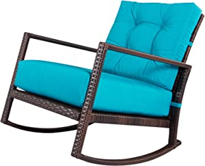 SUNCROWN Outdoor Furniture Patio Rocking Chair All-Weather Wicker Seat with Thick, Washable Teal Cushions, Smooth Gliding Rocker with Improved Stability