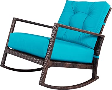 SUNCROWN Outdoor Furniture Patio Rocking Chair All-Weather Wicker Seat with Thick, Washable Teal Cushions, Smooth Gliding Roc