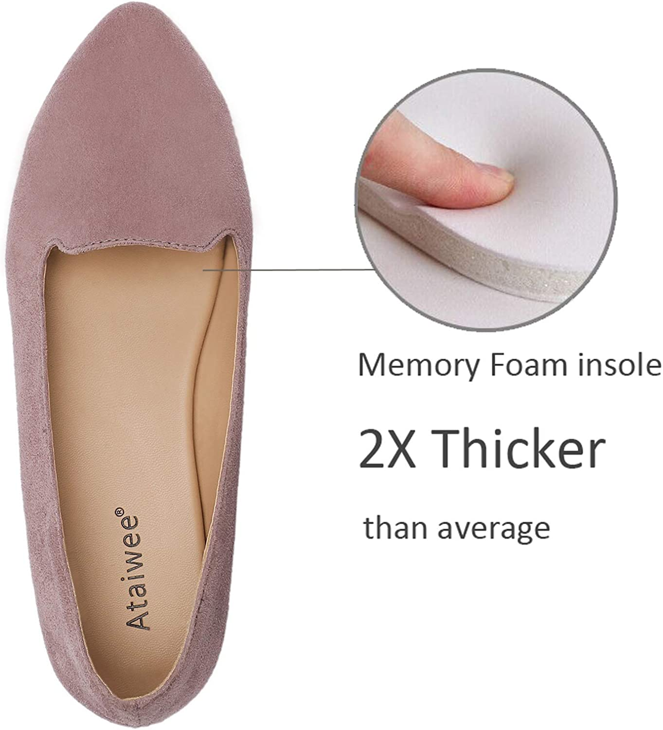 Pointy Toe Suede Classic Casual Cute Slip-on Flat Shoes. Ataiwee Womens Ballet Flats