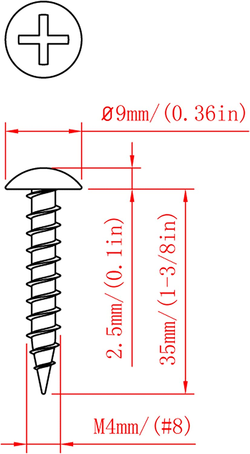 #8 Self-Tapping Screw #8x1in,100pcs Cross recessed pan Head Carbon Steel Material Wood Screw Widened Head Increase Hardness;Length from 1//2in to 1-9//16in. Black Oxide of Surface