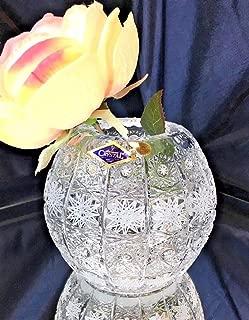 Czech Bohemian Crystal Glass Vase-Ball 5''-Height Handmade Decorative Wedding Gift Hand Cut Classic Vintage Lace Design Elegant Centerpiece Flower Vase