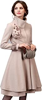 Women's Elegant Embroidery Wool Blend Trench Coat Peacoat with Belt