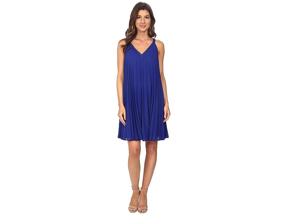 Adrianna Papell Chiffon Pleated Shift Dress (Iris) Women