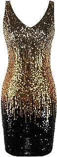 PrettyGuide Women's Sequin Cocktail Dress V Neck Bodycon Glitter Party Dress