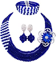 laanc 5 Rows Multicolor Crystal and 1 Brooch Jewellery Set, Nigerian Wedding African Beads Jewelry Sets
