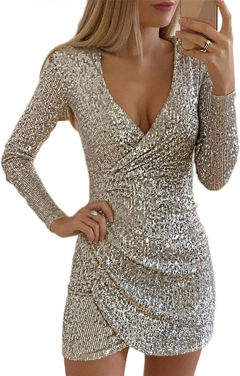 DUBACH Women Fashion V-Neck Surplice Wrap Ruched Sequins Bodycon Dress