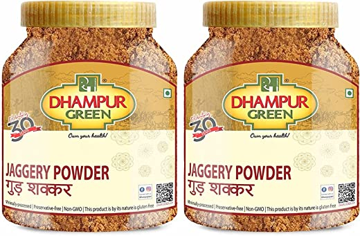 Dhampur Green Jaggery Powder Pure Natural Desi Gur Gud Shakkar Chemical Free, No Added Sulphur, Color, Fertilizers, Pesticides & Preservatives,…