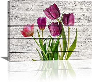 HUADAOART Tulip Wall Art for Bedroom, 1 Panel Modern Flowers Canvas Prints Wood Board Background, Rustic Canvas Wall Art Home Decor Artwork Wall Decor for Living Room Ready to Hang Size :12X16 inch