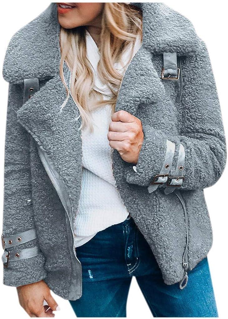 SamojoyFurry Womens Faux Fur Jacket Chunky, Fleece Sherpa Solid Zip Up Oversized Lapel Parka Outwear Coat Winter Autumn