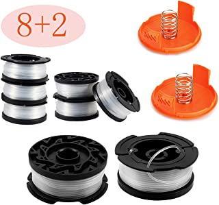"30ft 0.065"" Line String Trimmer Replacement Spool - Autofeed Trimmer Line Spool,10-Pack Compatible with Black+Decker AF-100-3ZP Weed Eater String Trimmers ( 8 Replacement Line Spool,2 Trimmer Cap)"