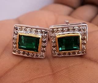 chanvanworld Antique Cut Natural Diamond 925 Sterling Silver Emerald Vintage Style Gift Cufflinks Men Jewelry