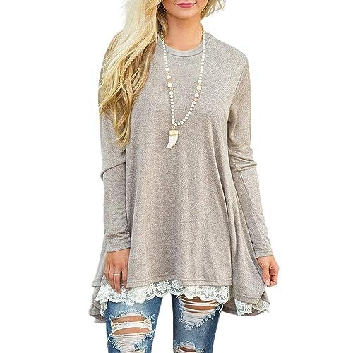 c85af90e4c4 WEKILI Women s Tops Long Sleeve Lace Scoop Neck A-line Tunic Blouse