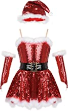 TiaoBug Girls Christmas Santa Claus Costume Figure Ice Skating Princess Ballet Leotard Dance Dress Xmas Cosplay Party Outfits