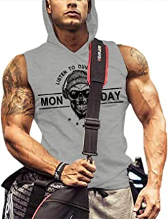 poriff Mens Tank Top with Hood Pocket Gym Hoodie Workout Sleeveless Muscle Shirt