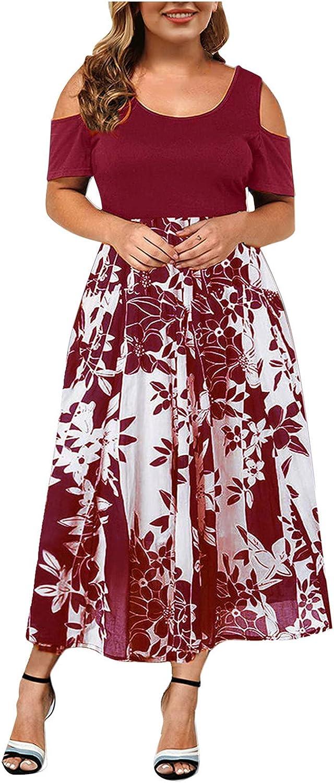 Summer Plus Size Maxi Dresses for Wedding Guest, Women Black Sexy Lace Cold Shoulder Short/Long Sleeves Crewneck Dress
