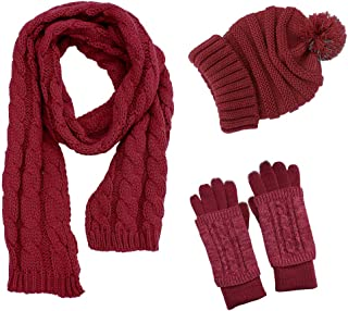 Women Hat Scarf Gloves Set, Pom Beanie Touch Screen Gloves 3PCS Soft Warm Thick Knit Cold Weather Gift Set