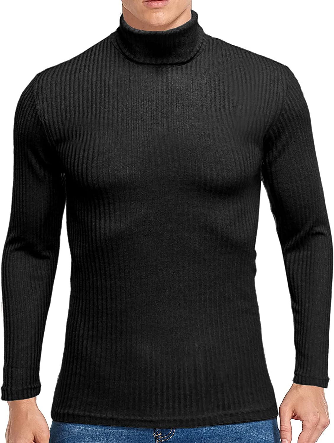 Men's Turtleneck Ribbed Pullover Basic Thermal Sweater Casual Long Sleeve Slim Fit SOFE Knitted Pullover Tops