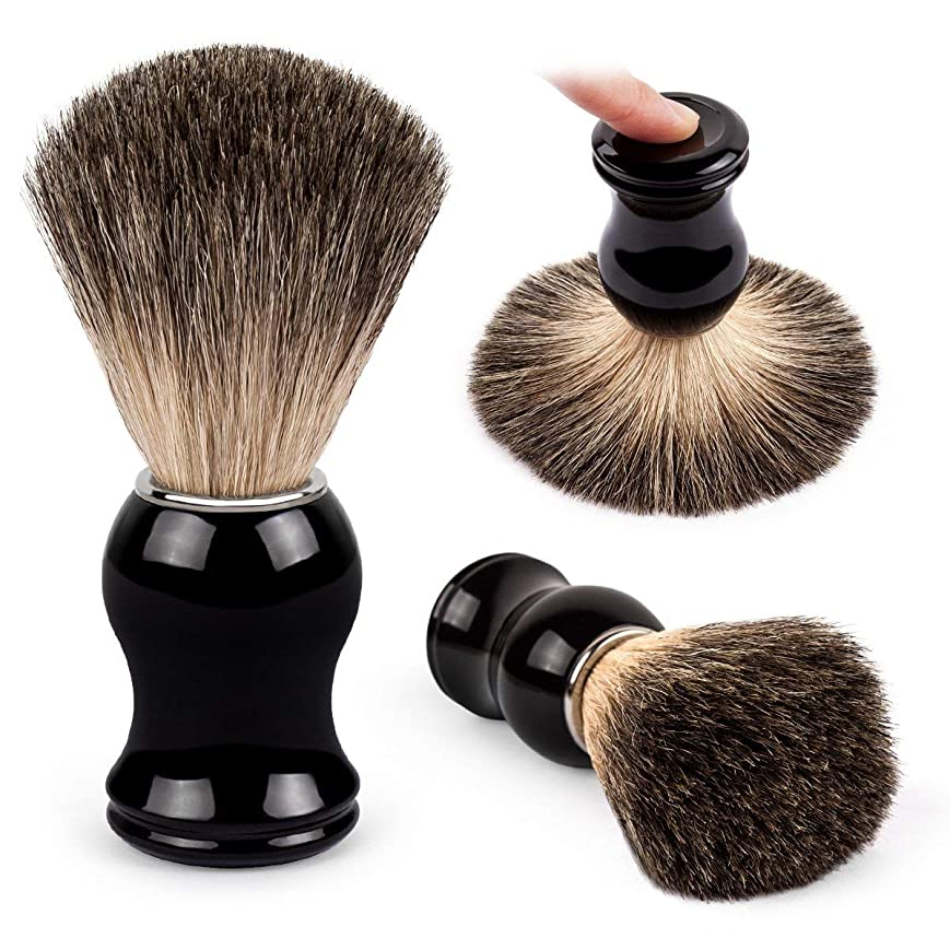 半導体マウンド大QSHAVE 100%最高級アナグマ毛オリジナルハンドメイドシェービングブラシ。高品質樹脂ハンドル。ウェットシェービング、安全カミソリ、両刃カミソリに最適