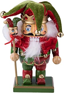 Clever Creations Chubby Jester Nutcracker | Red and Green Joker Outfit with Hat, Bells, Scepter | Festive Traditional Christmas Decor | 7.25
