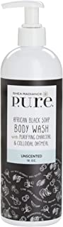 Shea Radiance, African Black Soap Body Wash Unscented, 16 Ounce