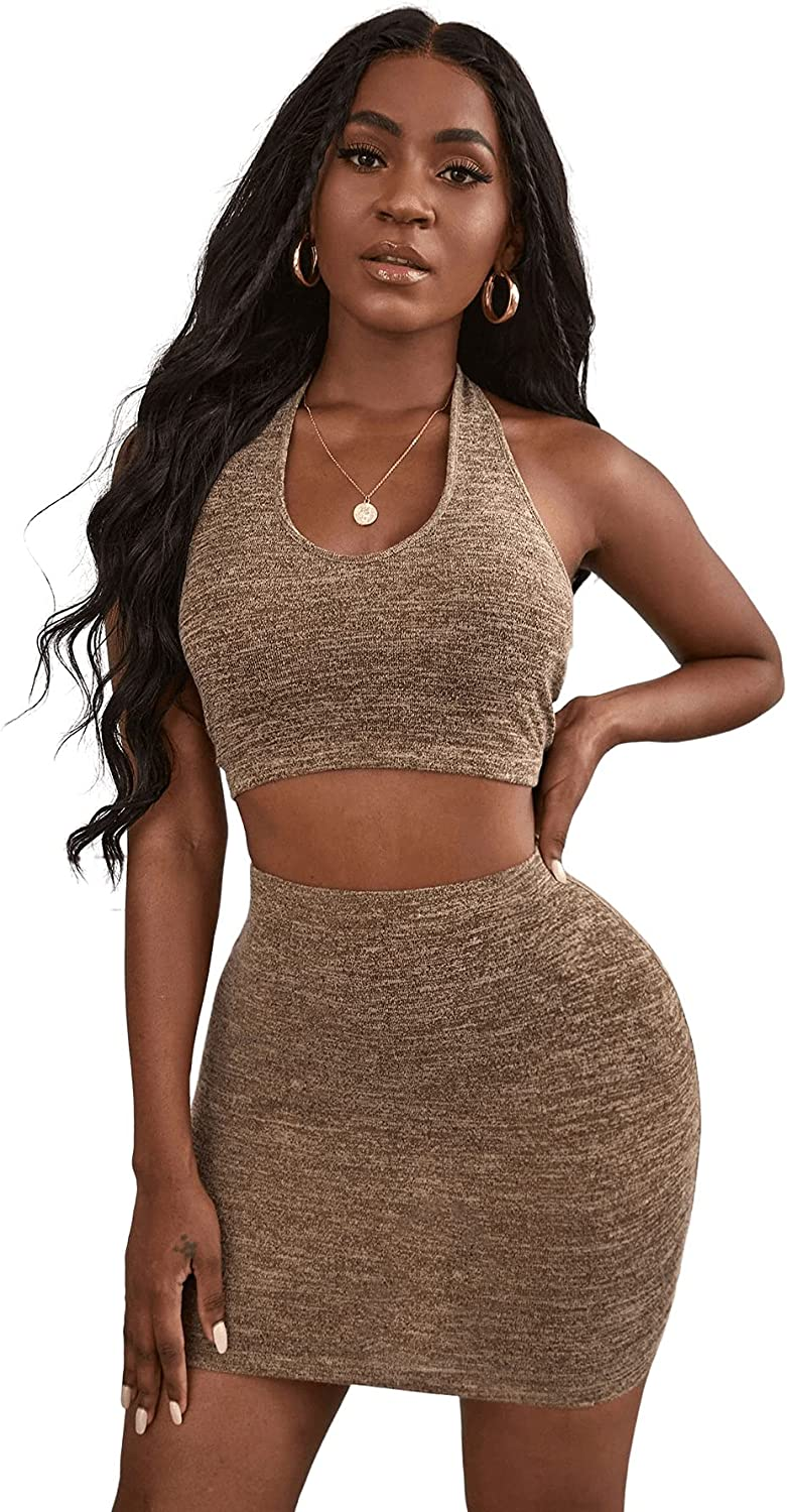 Verdusa Women's 2 Piece Outfit Backless Halter Top and Mini Bodycon Skirt Set